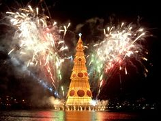 Fireworks engulf the Christmas tree during the lighting