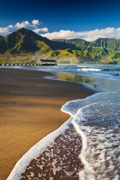 Early morning at the famous Hanalei Bay, on the island of Kauai.