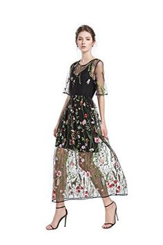 fb2468f7cfc Beautiful BaronHong BaronHong Women s Floral Embroidered Tulle Prom Maxi  Dress With Cami Dress 3 4