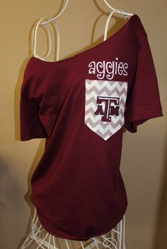 Texas A Aggies Pocket Off-the-Shoulder Shirt Chevron Aggie on Etsy, $32.00