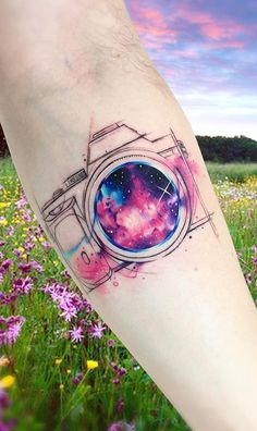 Stunning Watercolor Tattoos by Adrian Bascur - jaw-dropping galaxy tattoo for photography lovers © tattoo artist Adrian Bascur Adrian Bascur 💖 - Inner Arm Tattoos, Body Art Tattoos, Tatoos, Spritzer Tattoo, Galaxy Tattoo Sleeve, Galaxy Tattoos, Northern Lights Tattoo, Watercolor Galaxy Tattoo, Watercolor Rose Tattoos