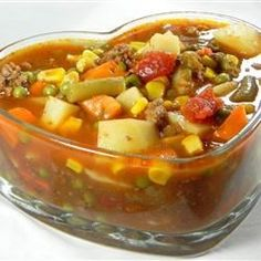 This is a hearty vegetable and venison soup. Everyone that I have fixed it for just loves it!