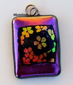 Flower Dichroic glass Pendant with Sparkling Purple by blazinbeads, $15.00