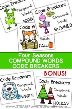 Learn compound words, early coding and develop critical thinking skills in this 4 seasons code breakers activity. Perfect for students learning to read. Winter Activities For Kids, Preschool Learning Activities, Educational Activities, Vocabulary Activities, Holiday Activities, Summer Words, Word Challenge, Lessons For Kids, Math Lessons
