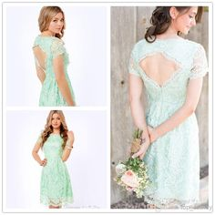 Wholesale cheap bridesmaid dresses online, 2014 fall winter - Find best new arrival 2014 bridesmaid dresses lace cocktail dresses mint light green sheath short sleeve keyhole backless bateau knee length wW1913 at discount prices from Chinese bridesmaid dress supplier on DHgate.com.
