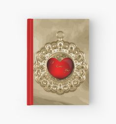 #AntiqueGold #FauxCharm #RedHeart #HardcoverJournal by #MoonDreamsMusic #ValentinesDay Antique Gold Charm Graphic by #DigitalScraps on Etsy