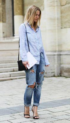 look calça jeans destroyed