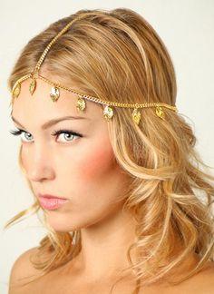 gold leaf hair chain