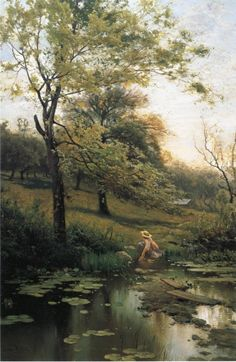 By the Lily Pond, Arthur Parton. American Impressionist Painter (1842 - 1914)