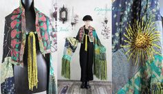 RESERVED Wearable art shawl Embroidered shawl Silk Shawl by Jevda