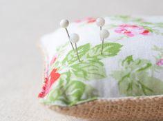 Burlap and cotton pincushion handmade small by SeaBreezeStore