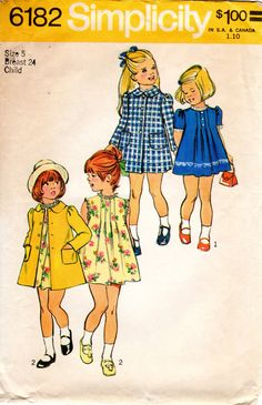1970s Girls' Coat and A Line Dress w/ Tucks Pattern by ErikawithaK