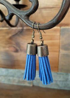 Royal blue leather tassel earrings - brass metal capped tassel earrings - leather tassel jewelry - royal blue boho dangling tassel earrings