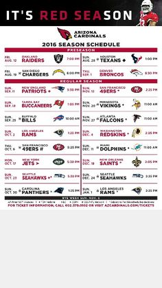 AZ Cardinals 2016 schedule... I can't wait... Go Cards!!!