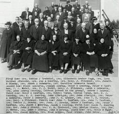 50th anniversary of Eden Mennonite Church, Moundridge, Kansas. First lady on first row is Maria Goering Krehbiel, wife of Tobias J. Krehbiel. She was born  September 3, 1863 in Kotosufka, Russia to John Gering and Elizabeth Graber. This picture is a group of 1874 Immigrants from Russia, taken October 31, 1944.  Tobias Krehbiel was deceased by this time. Tobias and Maria are buried  Hopefield Cemetery in Moundridge, Kansas  (1) From: Uploaded by user, no url