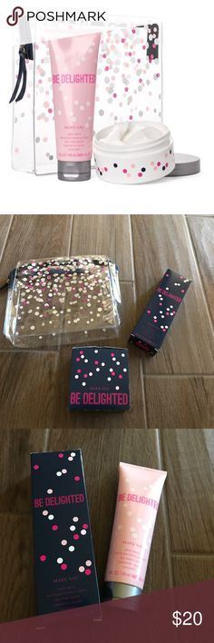 Mary Kay Be Delighted Set Listing price includes all items pictured. Mary Kay Be Delighted set includes: body wash, whipped body mousse and bag. All products are new, never used but the inner lining of the body mousse jar is loose. Mary Kay Makeup