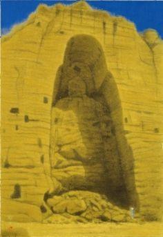 平山郁夫「破壊されたバーミアン大石仏」(2003) Buddhism, Mount Rushmore, Museum, Japanese, Mountains, Nature, Masters, Master's Degree, Naturaleza