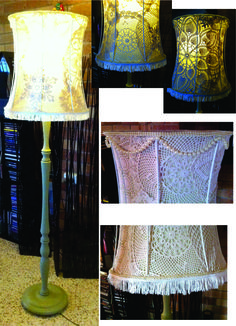 I have taken the fabric off the outside of the lamp then glued handmade doillies to the inside fabric.  Finished off with fake pearls and a tassle fringe..Chalk painted base with Annie Sloan's Versailles