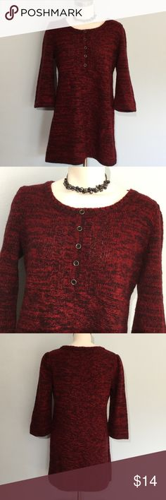 Style & Co. Sweater Dress Style & Co. Sweater Dress in red and black. Good condition. Five accent buttons down the front. 3/4 sleeve. Fun to wear with leggings. Style & Co Dresses