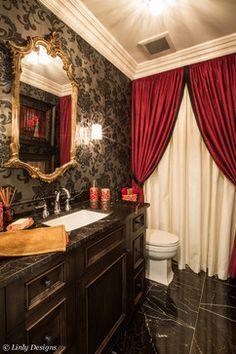 Lovely Wall In This Powder Room Lauren Nicole Designs Bathroom - Burnt orange bathroom rugs for bathroom decor ideas