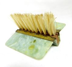 Art Deco Pocket Clothes Brush, Handbag-sized Folding Green/Grey Marbled Celluloid Clothes Lint Brush 1930s by keepsies on Etsy