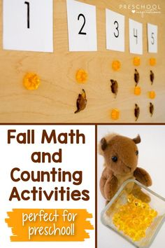 Make learning fun with these number and counting ideas that involve storytelling and play! These are hands-on learning activities that teach math concepts from a concrete perspective. The fall theme is perfect for your preschool classroom this autumn! Fall Preschool, Preschool Classroom, Counting Activities, Preschool Activities, Math Practices, Math Concepts, Kids Songs, Teaching Math, Fun Learning
