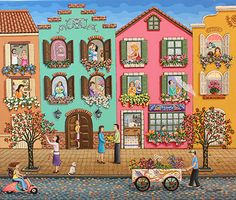 Gossiping Neighborhood by Laura Vidra - GINA Gallery of International Naive Art Art And Illustration, House Drawing, Arte Popular, Naive Art, Pretty Art, Whimsical Art, Cute Wallpapers, Art Forms, Altered Art
