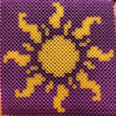 Tangled sun perler beads by plur_warrior_armor change to cross stitch Hama Beads Design, Diy Perler Beads, Perler Bead Art, Pearler Beads, Pearler Bead Patterns, Perler Patterns, Loom Patterns, Beading Patterns, Filet Crochet