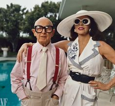 """Annie Leibovitz: Irving Paul """"Swifty"""" Lazar and Joan Collins, Beverly Hills, California, 1992."""