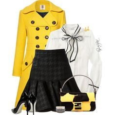 Yellow Coat by pinkroseten on Polyvore featuring J.Crew, Orla Kiely, Balmain, Gianmarco Lorenzi, Fendi and Kendra Scott