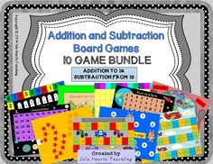 These 10 fun addition and subtraction board games are perfect for reinforcing concepts and engaging early finishers. No prep -- simply print and go! All you need are dice and counters. Instructions and motivational certificates are included.