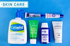 Cetaphil Gentle Skin Cleanser    Clean & Clear Advantage Acne Spot Treatment    Weleda Skin Food      Klorane Soothing Eye Make-Up Remover With Cornflower Water      Smith's Rosebud Salve      Boots No. 7 Total Renewal Micro-Dermabrasion Exfoliator