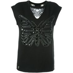 Philipp Plein Butterfly Patch Tank Top ($742) ❤ liked on Polyvore featuring  tops,