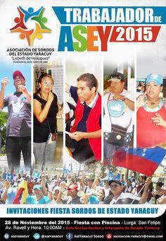 """Asociación de Sordos del Estado Yaracuy: Trabajador de ASEY 2015 - 2016"""" y """"Invitationes de..."""