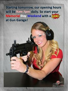 Our Shooting Range and Retail Store will now be open at 9am seven days a week! The range closes at 7pm and retail at 6pm.  #MDW #MemorialDayWeekend #GunGarage #ShootingRange #RetailStore #LasVegas