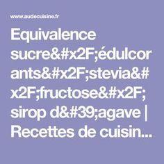 Equivalence sucre/édulcorants/stevia/fructose/sirop d'agave | Recettes de cuisine allégées