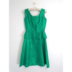 Vintage 1960s Carnegie of London Size 8 Emerald Green Polka Dot Peplum Dress