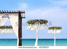 Wedding flower set up on the beach