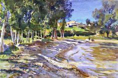 """"""" John Singer Sargent (1856-1925) San Vigilio, Lago di Garda (c.1913) watercolor on paper 36 x 53.3 cm """""""