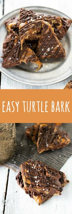Delicious and simple chewy turtle bark -- milk chocolate, caramel, and toasted pecans. Perfect gift for the holidays! Mini Desserts, Easy Desserts, Delicious Desserts, Delicious Chocolate, Summer Desserts, Health Desserts, Candy Recipes, Sweet Recipes, Dessert Recipes
