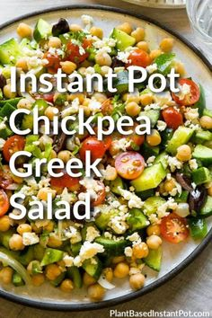 Wouldn't a salad be a perfect dinner? Use your electric pressure cooker for the power of good and keep your house cool at the same time. This Instant Pot Chickpea Greek Salad is fresh, filling, and vegan, plus you can make it ahead of time! Diet Salad Recipes, Greek Salad Recipes, Indian Food Recipes, Drink Recipes, Vegetarian Cookbook, Vegetarian Recipes, Healthy Recipes, Healthy Food, Instant Pot Pressure Cooker