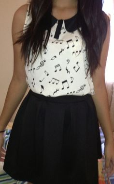 Musical notes shirt and skirt
