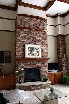 Open great room fireplace