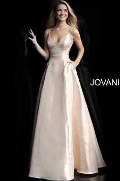 526ba053e51 jovani Soft Gold Spaghetti Straps A Line Prom Gown 59915 Metallic Prom  Dresses