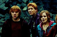 "In Deathly Hallows Part 2, when they all see that Harry isn't actually dead George turns around to say ""Fred"" but there is no Fred.  He wanted to share this with hi brother but then he remembered he wasn't there.  :(  MY FEELS!!! poor twins!  (gif)"