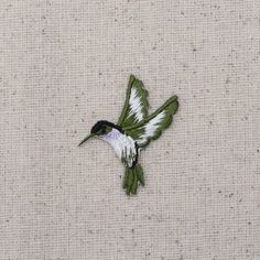 Hummingbird – Small – Lavender Throat – Facing Left – Iron on Applique – Embroidered Patch – - Stickerei Ideen Bird Embroidery, Japanese Embroidery, Cross Stitch Embroidery, Embroidery Patterns, Machine Embroidery, Embroidery Digitizing, Quilled Creations, Iron On Applique, Patches