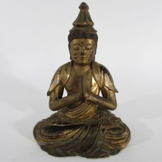 Antique Japanese Edo Period Gilt & Lacquered Wood Amitabha Buddha Figure, 19th C