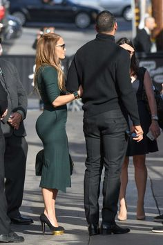 Jennifer Lopez and Alex Rodriguez are seen visiting Jimmy Kimmel Live in Hollywood, Los Angeles J Lo Fashion, Work Fashion, Fashion Outfits, Womens Fashion, Jennifer Lopez Workout, Jennifer Lopez Body, Alex Rodriguez, Looks Chic, Church Outfits