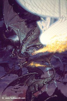 """Eärendil and the Battle of Eagles and Dragons"" sketch by Ted Nasmith"