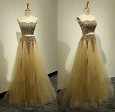 Floor Length Handmade Beaded Gold Prom Dress
